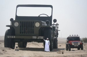Sheikh Hamad bin Hamdan Al Nahyan with largest model Willys jeep 2009