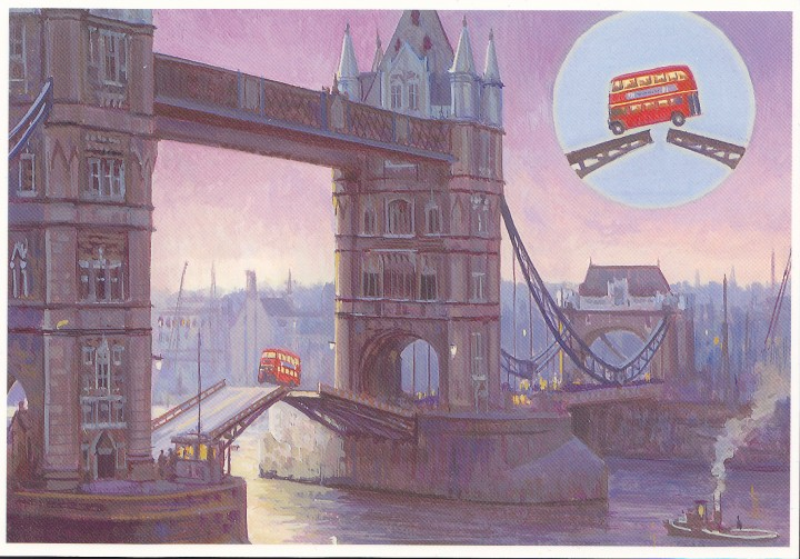 Tower Bridge bus jump artist's impression  on the postcard