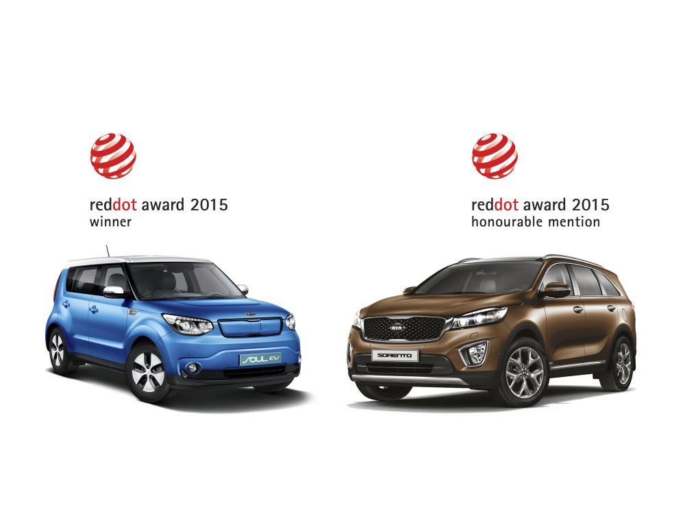 Kia Soul EV and Sorento Red dot awards © Kia Motors
